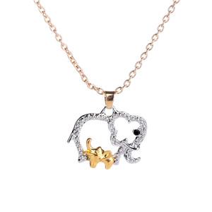 Ожерелье Слона с Baby Animal Красивые Ожерелья Ювелирные Изделия для Матери Горячее Золото Посеребренная День Матери Рождественские Подарки Кристалл Ожерелье