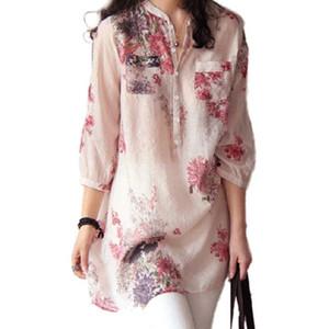 Mulheres do vintage Floral Imprimir Blusa de Algodão Camisa de Linho Casual Solto Tops Feminino Camisa Longa Blusas Túnica Estilo Chinês DP824050