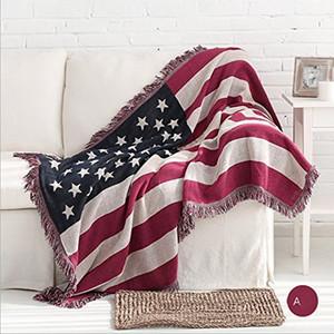 """Hot 50 """"x 70"""" saisonale amerikanische doppelseitige Baumwolle gewebt Couch Tapisserie Decke mit dekorativen Quasten US-Flagge The Old Glory"""