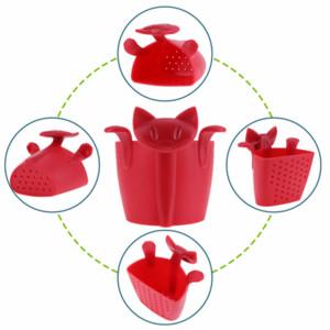 Infusor de té de café tetera colador de té Animal de dibujos animados gatito bolsitas de plástico filtro Drinkware café té accesorios Venta caliente