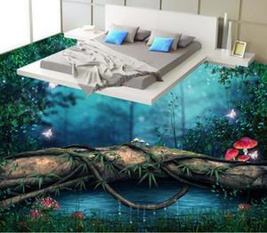 papel pintado de la foto de encargo Papel pintado del piso del pvc del puente 3d del solo-tablón del bosque pintado para el cuarto de baño