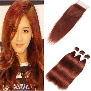 Paquetes brasileños de cabello humano castaño con cierre Recto # 33 Dark Auburn Virgin Hair Weaves 3 paquetes con cierre de encaje 4x4