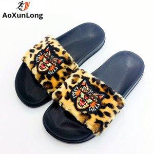 AoXunLong бренды меховые тапочки женщины домашние тапочки меховые ползунки меховые шлепанцы щипцы Femme ete Pantoufle Femme Peluche горячие 36-41 Женская обувь