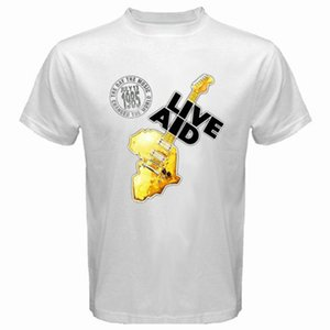 New Live Aid 1985 Logo Rock Music Concert T-shirt bianca da uomo taglia S - 3xl Stranger Things Design T Shirt 2018 Nuovo