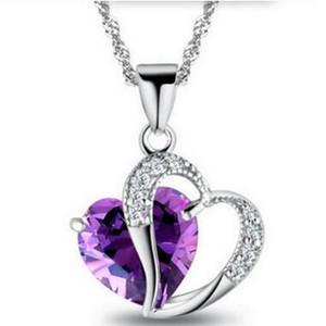 Frauen Kristall Liebe Herz Anhänger Halsketten Schmuck Mode Mädchen Dame Herz Kristall Amethyst Anhänger Halskette Modeschmuck