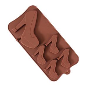 5 отверстие на высоком каблуке Обувь моделирование силикагель шоколадные конфеты печенье модели и сетки плесень торт украшения инструменты силиконовые формы
