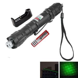 Прочный 532nm 2 Miles Pen Clip Зеленая лазерная указка для пера Одиночный и звездный лазерный прицел с аккумулятором 18650 + зарядное устройство + звездная крышка