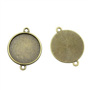 30 Pieces Cabochon Cameo Base Tray Bezel Blank Accessories Parts Classic Connector Inner Size 20mm Round Necklace Pendant Setting