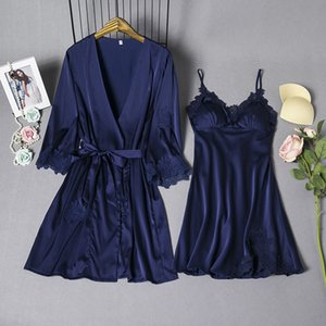 Sexy femminile NEW Sleepwear Set Elegante Rayon Satin 2 PZ Nightwear Solid Trim Kimono Accappatoio Donne Cinesi Wedding Robe Gowns