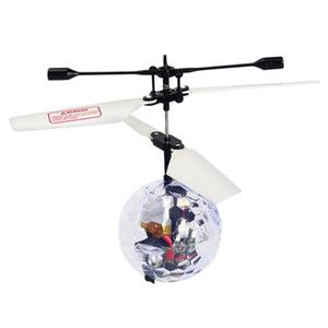 R C Flying Ball R C Drone Helicopter Ball Built-in Disco Music With Shinning LED Aircraft Transparent, Light color random
