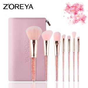 ZOREYA spot 7 escova de maquiagem de cristal dentro de plástico perfurado ferramentas de maquiagem saco de fibra rosa