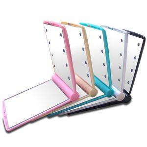 Espejo de maquillaje de luces led portátiles con 8 lámparas de luces LED Cosmético plegable Portátil compacto Espejo de mano de maquillaje Maquillaje Bajo las luces