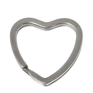 Doreen Box hot-10PCs Silver Tone Valentine Heart Split Anelli portachiavi (B03297)