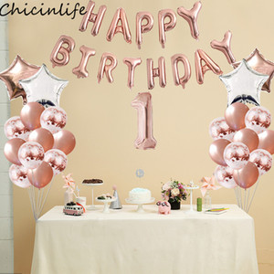 Venta al por mayor 1 Unidades 16 pulgadas Feliz Cumpleaños Staar Foil Cartas Globo 1-9 Años Fiesta de Cumpleaños Baby Shower 1er Cumpleaños Suministros