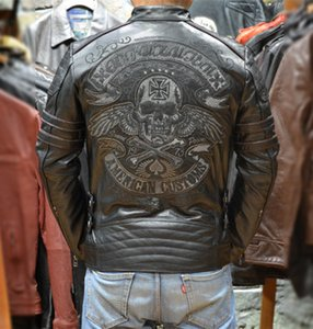 Yükseltildi Yıpranmış Harley tarzı Mont erkekler İnce deri motosiklet giyim hakiki deri erkek motorlu ceket yaka geri işlemeli kafatası