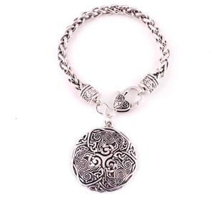 Viking Nórdico Celtic 3 Lobo Triskelion Energia Amuleto Pulseira Mulheres Homens Trigo Elo Da Cadeia Pulseira Jóias