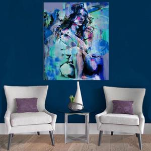 100% peint à la main grande taille nue peinture à l'huile fille Squat Down Sexy Naked beauté art moderne décor à la maison