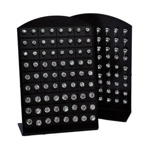 Moda Sıcak Rhinestone Zirkonya Paslanmaz Çelik Kadınlar için Damızlık Küpe Ekran Panoları Toptan Takı Lots 72 adet 1 Takım KKA1769