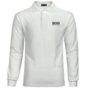 gömlek moda bahar marka Hugo Boss klasik erkek t Casual Polo Gömlek Lüks erkek% 100 pamuk uzun kollu Tişörtü polo gömlekleri vuruşu