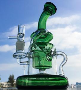10-дюймовый Торнадо Бонг Klein Ресайклер Пьянящий стекла Dab Rigs Showerhead Проц Percolator Oil Rig Thick Base кальян трубы Красочные стекла воды