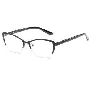 Gafas de lectura de medio marco Mujeres Gafas de metal óptico Espejo antifatiga Hipermetropía Mujeres Ojo de gato HD Resina Lente Presbicia Vidrio de lectura