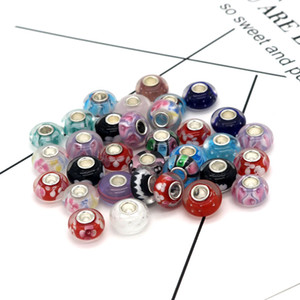 Hot sale 8*14mm 500pcs Big Hole Glass Glaze Beads Lampwork Glaze Beads fit European Jewelry Braclet Charms DIY
