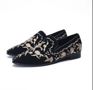 Новые ручной вышивки мужские мокасины курение тапочки повседневная обувь мокасины мужская кожаная платье свадебная обувь для вечеринок DHA46