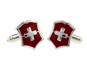 Cross border Retro Red Cross cufflinks, men's exquisite shield cuff ornaments