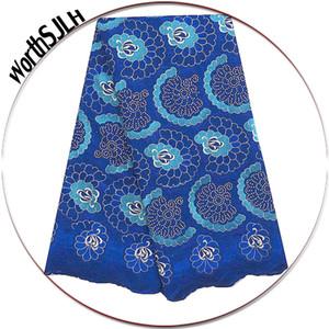 Royal Blue Afrique Femmes dentelle Tissus pierres Peach dentelle suisse sec Tissus haute Voile coton de qualité dentelle Tissu en Suisse