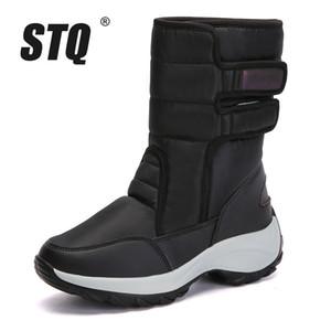 STQ 2018 Invierno Mujer Botas de Nieve Plataforma botines de goma mujer alta cálida piel de felpa lluvia para senderismo 1618