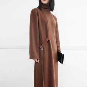 SuperAen Europa Mulheres Moda Camisola Vestido Cor Sólida de Algodão Selvagem Casual Vestido de Manga Longa de Gola Alta Malha Inverno Novo