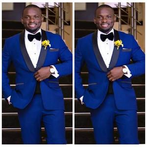 2019 de alta qualidade azul royal smoking noivo padrinhos xale lapela melhor homem blazer casamento dos homens ternos de negócio personalizado (jaqueta + calça)