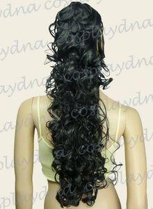Envío gratisHeat Stylable Black Clipon ringlet Curl Cosplay DNA Ponytail