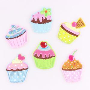 6 unids / set Colores Lovly Ice Cream cupcake Applique Bordado Hierro En Parche Coser En Parches Artesanía de Costura de Reparación Bordado