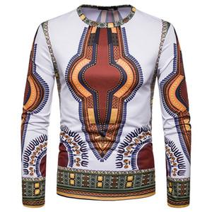 3D Afrika dashiki Tişörtlü Erkekler 2018 Yeni Tribal Etnik Tee Gömlek Homme Slim Fit Uzun Kollu Tişört Erkek Camisetas Hombre
