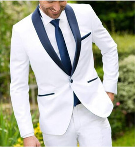 2018 One Button Bianco Best Man Wedding Groom Mens Smoking abiti blu scuro scialle bavero Custom Made Business Slim Fit Mans Suit