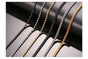 """24"""" Cadenas Hombres de acero inoxidable básicas caja collar de cadena grano redondo de acoplamiento de la bola en tono Negro Oro Plata Unisex Hombre joyería"""