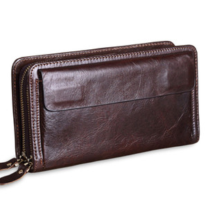 male warm Men's Clutch Belt genuine leather man Clutch Wallets Business For men Clutches double zipper men's Bags