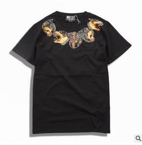 Adolescente Streetwear Camiseta Dog Head NecklaceT-shirt de Manga Curta Impresso T-shirt Solta Em Torno Do Pescoço T-shirt para Homens e Mulheres