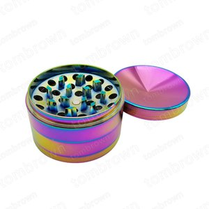 New Fashion 63mm Colored Rainbow Aluminum Inside Teeth Smoking Grinder 4 Layers Space Case Crusher Spice Pipe Tobacco Dry Herbal Grinder