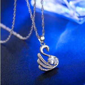Joyería de plata Colgante de Moda Fina Cisne colgante cadena de clavícula 925 joyería de plata plateado Collar Colgantes collar de regalo de moda Top Qualit