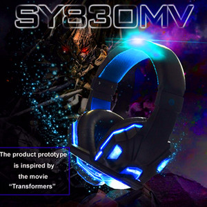 Гарнитура наушники наушники стерео бас компьютер с микрофоном для геймеров с освещением / без света PS4 игр наушников