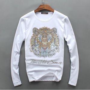 Conception de diamant de luxe pour hommes en gros manches longues de mode t-shirts hommes t-shirts drôles marque coton tops et t-shirts 0102