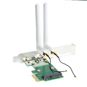 Carte réseau Wifi sans fil Mini PCI-E vers adaptateur de bureau PCI-E 1X + 2 antennes