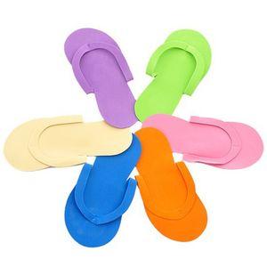 12pair / lot weiche Nagel-Wegwerfpantoffel-Flipflop-Schaum-Pediküre-Fuß-Badekurort-Trennzeichen-Nagel-Kunst-Schönheits-Pantoffel-gelegentliche Farbe