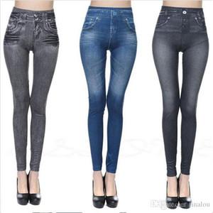 3 가지 색상 Leg Shaper Jean Skinny Jeggings 여성 Stretchy 데님 바지 레깅스 Jeans Pencil Tight Trousers 슬림 한 레깅스