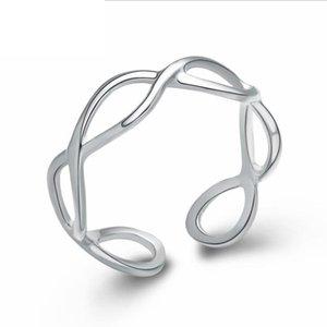 Anillo de apertura creativo coreano caliente S925 Sterling Silver Alphabet Numeral 8 Plating Platinum Pulido a mano D0309