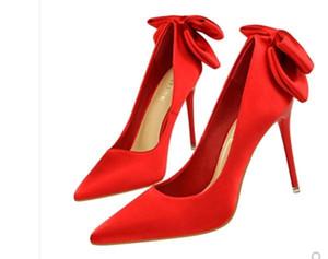 Envío gratis Hot Korean versión 2018 primavera nuevos productos de seda bowknot de tacón alto de las mujeres solos zapatos de tacón fino puntiagudo boca baja novia sh