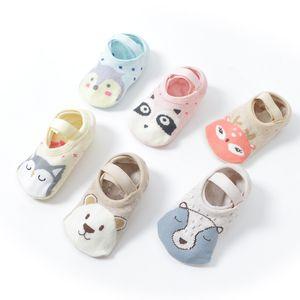 Säuglingtier Anti-Skid Niedliche Kinder Hohe Qualität Karton Boden Walk Socks für 1-3t Neugeborenes Baby Mädchen Junge Kurze atmungsaktive Baumwollsocken