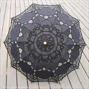 Black Lace Gothic ombrello parasole Fancy nero vuoto Ombrelloni da sposa in stile vittoriano per la sposa damigella d'onore nuziale batten pizzo fatto a mano a buon mercato